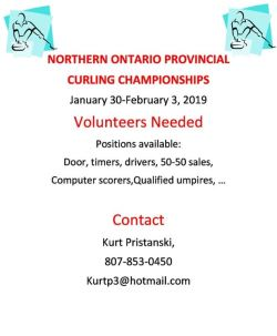 Volunteers for the 2019 Mens & Ladies Northern Ontario Provincial Curling Championships-Nipigon