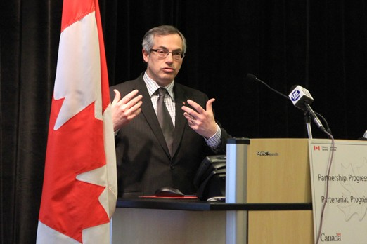 Minister for FedNor Tony Clement speaks at the Thunder Bay Regional Health Sciences Centre on Monday.