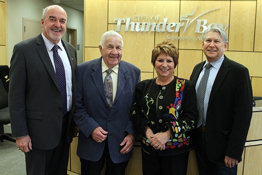 Mayor Keith Hobbs (from left) and ex-mayors Jack Masters, Lynn Peterson and Ken Boshcoff have joined forces to raise money for the United Way thorugh it