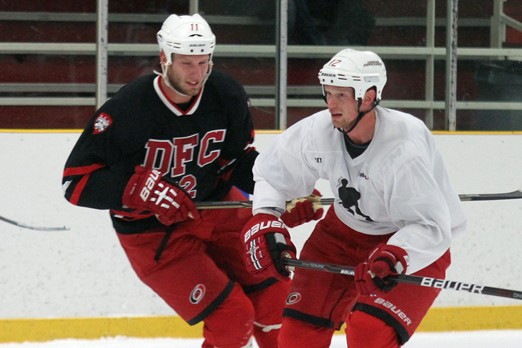 Both Jordan Staal (left) and brother Eric, seen playing Friday at Delaney Arena, want to see a deal get done between the NHLPA and NHL owners so the season can begin.