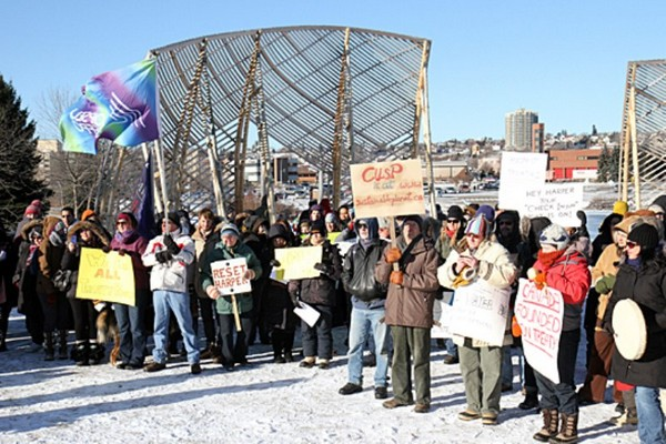 Protesters gathered at Prince Arthur's Landing on Dec. 21, 2012.