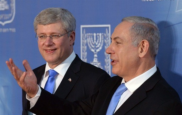 Prime Minister Stephen Harper and Israeli Prime Minister Benjamin Netanyahu talk following a joint press conference in Jerusalem, Israel on Tuesday, January 21, 2014.