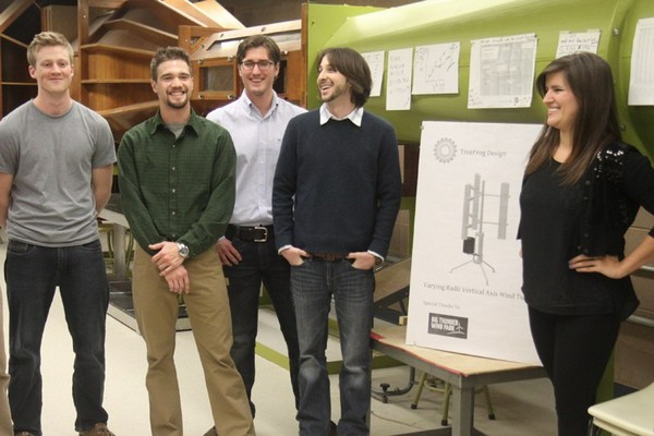 Mechanical engineering students Kyle Van Patter, Matthew Cresswell, Ryan Baxter, Phil Gabany and Cassandra Rotar have a designed an axis for wind turbines that could allow the machines to harness more power.
