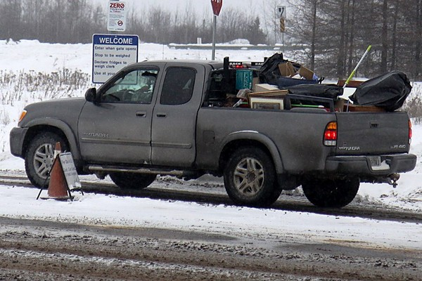 A truck enters the Thunder Bay Solid Waste and Recycling Facility on Saturday afternoon.