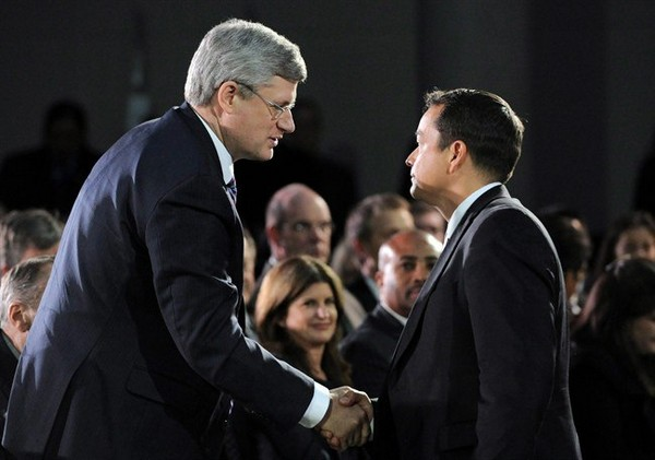 Prime Minister Stephen Harper shakes hands with Shawn Atleo, National Chief of the Assembly of First Nations, during the closing ceremonies of the Crown First Nations Gathering in Ottawa on Tuesday, January 24, 2012. The Conservative government is poised to finally unveil its retooled plan to reform First Nations education.