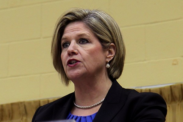 Ontario NDP leader Andrea Horwath addresses the audience at the Lakehead Labour Centre on Sunday where Mary Kozorys was selected as the party