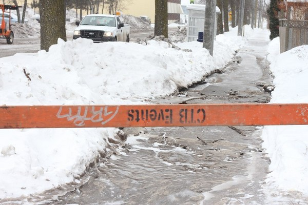 A water main break has South Court Street between John Street and Cornwall Avenue closed on Thursday, Feb. 13, 2014.