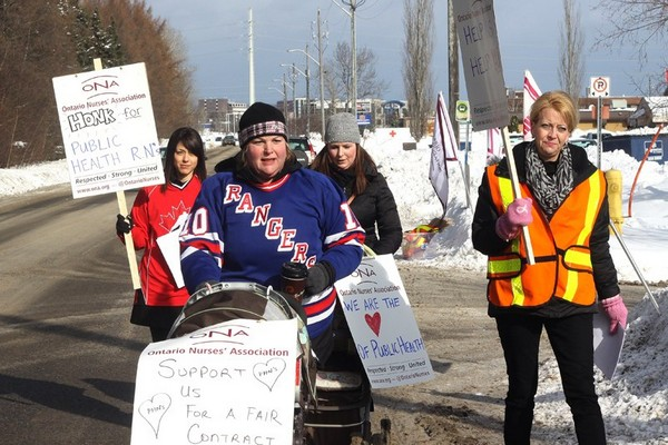 Health unit nurses walked an information picket Wednesday afternoon.