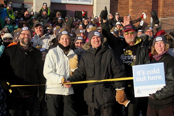 Gary Macsemchuk, Melody Macsemchuk and Aldo Ruberto cut the ceremonial ribbon at the start of the Coldest Night of The Year Walk on Saturday.