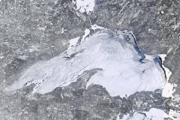 This satellite image, captured a week ago, shows Lake Superior with nearly 90 per cent ice coverage.