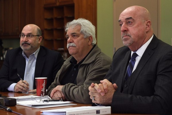 City manager Tim Commisso, Coun. Joe Virdiramo and mayor Keith Hobbs hold a media conference Thursday morning.