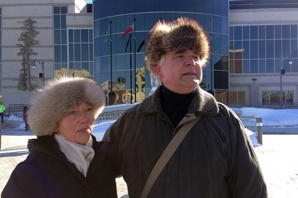 Aspiring mayoral candidate Henry Wojak stands in front of Thunder Bay City Hall with wife, Valerie Wojak, Monday afternoon. Henry Wojak is attempting to file his nomination papers to run as mayor for the City of Thunder Bay, but has the unique challenge of trying to do that while under a city hall trespass notice.