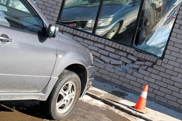 A vehicle partially went through the wall of the Northern Credit Union's Arthur Street branch.