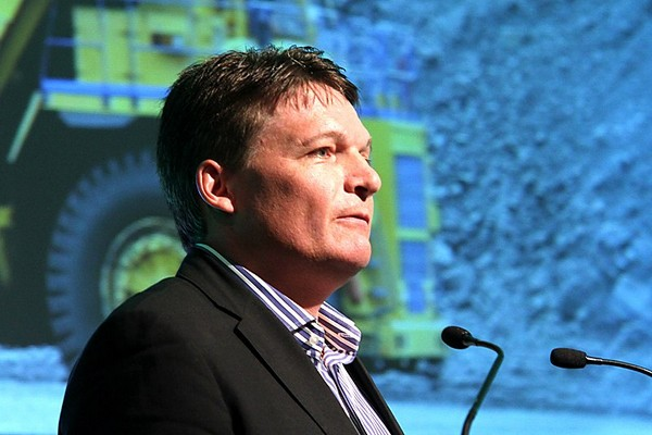 Premier Gold Mines president and CEO Ewan Downie speaks during last week