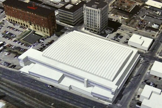 FILE -- An early conceptual drawing of the proposed north core events centre.