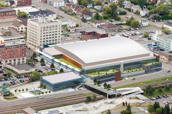 An aerial view of a proposed event centre. City officials say updated images will be available soon.