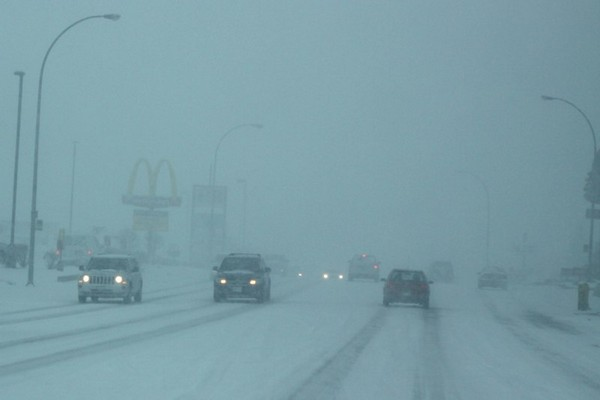 Visibility was severely reduced during the height of Saturday morning