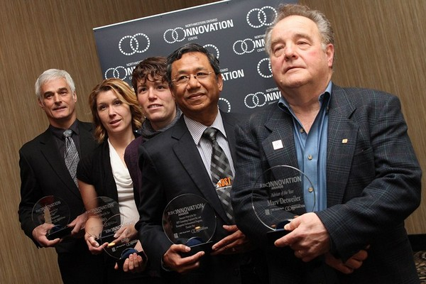 From left: Dereck Legros (Auto Flex Air Ride Suspensions), Nicole Reid (Yuleys), Catherine Leonard (the EcoBus), Myint Win Bo (DST Engineering) and Marv Detweiler (Ambassadors Northwest) were the big winners at Thurday's RBC Innovation Awards.