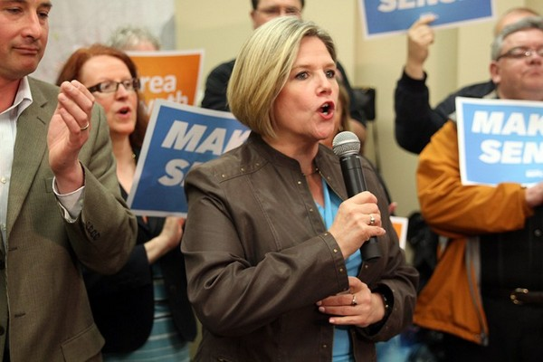 Ontario NDP Leader Andrea Horwath speaks during a campaign stop in the city on Sunday evening.