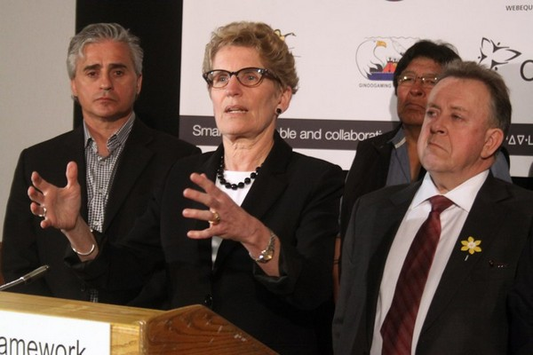 FILE - Kathleen Wynne speaks in Thunder Bay in April 2014 announcing a framework agreement regarding the Ring of Fire.