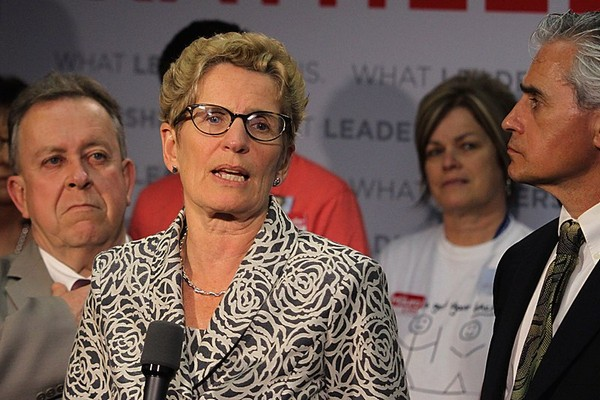 Liberal Leader Kathleen Wynne answers questions from media following her platform unveiling in Thunder Bay on Sunday.
