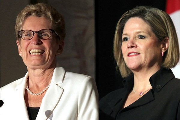 This is a photo illustration, two separate photos merged into one. Liberal Leader Kathleen Wynee appears on the left next to NDP leader Andrea Horwath. The two leaders faced on in the Northern Leader