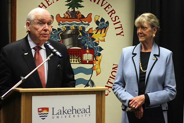 Lakehead University chancellor Derek Burney and his wife, Joan, announce a donation to the university's Centre of Excellence for Sustainable Mining and Exploration Thursday.