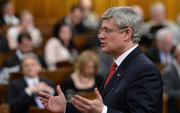 Prime Minister Stephen Harper responds to a question during question period in the House of Commons on Parliament Hill in Ottawa on Monday, June 2, 2014.