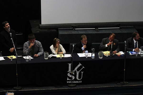 From left: Northern Ontario Heritage candidate Paul Sloan, Green candidate Joseph Leblanc, Libertarian candidate Tamara Johnson, Liberal candidate Michael Gravelle, NDP candidate Andrew Foulds and PC candidate Derek Parks participate in a Thunder Bay-Superior North debate on Monday evening.