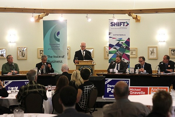Local candidates square off in a debate Thursday co-hosted by the Thunder Bay Chamber of Commerce and the SHIFT Young Professionals