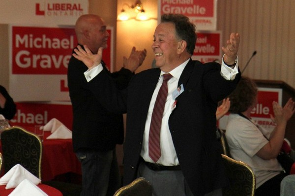 Michael Gravelle celebrates his win in the Thunder Bay-Superior North riding Thursday evening at the Prince Arthur Waterfront Hotel.