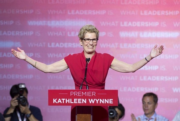 Ontario Liberal leader Kathleen Wynne speaks to supporters after winning the Ontario election in Toronto on Thursday June 12, 2014