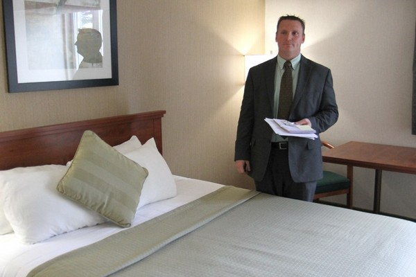Raymond Nadeau, general manager of the Victoria Inn, stands in a hotel room to show its condition. Rumours circulating the city state that many of these rooms had been trashed by Kashechewan evacuees staying at the hotel. The rumours, which are completely untrue, prompted the hotel to take media on a tour of the facility in hopes of stopping them from spreading.