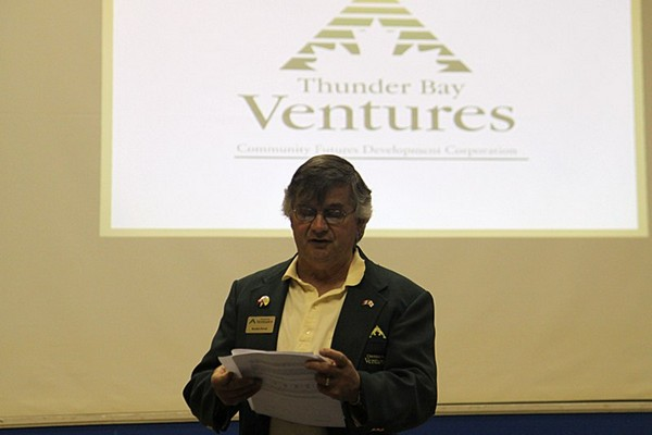 Thunder Bay Ventures manager Royden Potvin presents the findings of the 2014 Thunder Bay Small Business Opinion Survey at the Finlandia Club Tuesday.