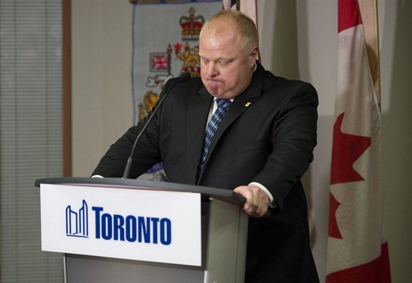 Toronto Mayor Rob Ford holds back his emotions while speaking during an invite-only press conference at City Hall in Toronto on Monday, June 30, 2014.