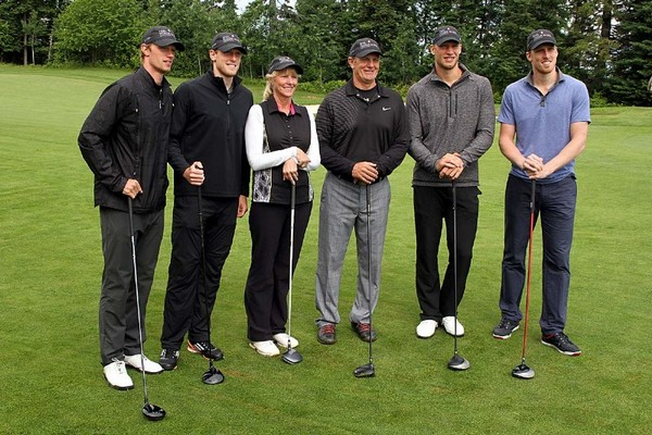 Eric (from left), Jared, Linda, Henry, Jordan and Marc Staal were front and centre Monday at Whitewater Golf Course.