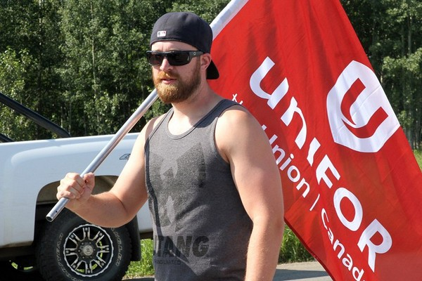 Strikers continued to picket Thunder Bay's Bombardier plant Thursday along Montreal Street.