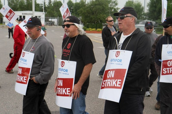 Bombardier employees on strike started their third week on the picket line Monday.
