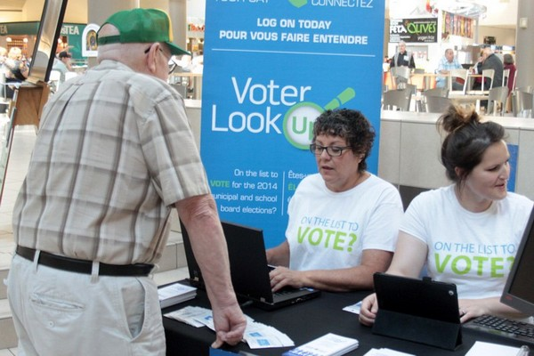 MPAC reps were promoting the VoterLookup.ca website at Intercity Shopping Centre Friday.