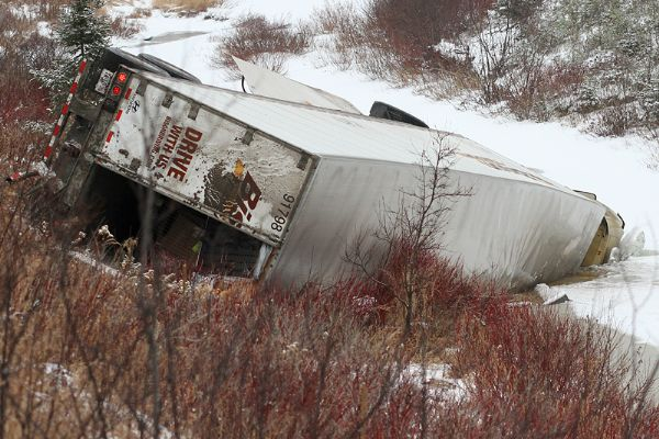 A transport truck crashes and ended up in Strawberry Creek off Highway 102 Saturday afternoon.
